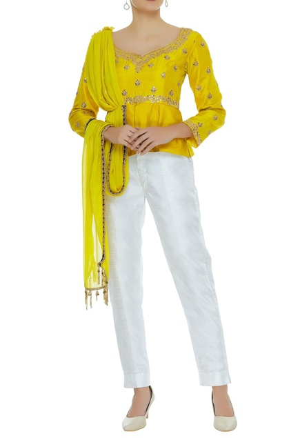 Embroidered top with attached dupatta