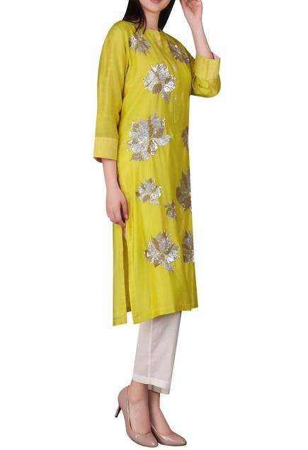 Lotus motif chanderi silk tunic