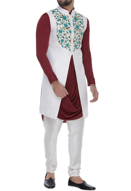 Floral embroidered bundi jacket