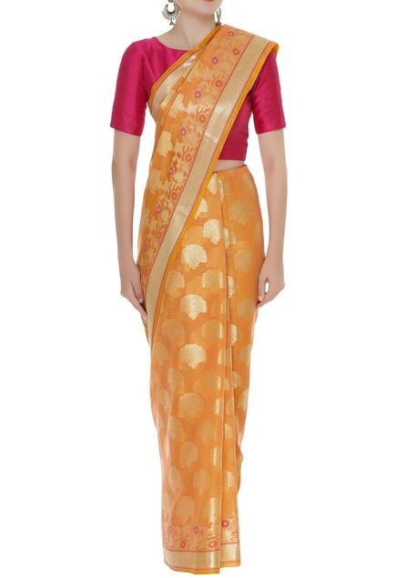 Tree motif banarasi sari with unstitched blouse