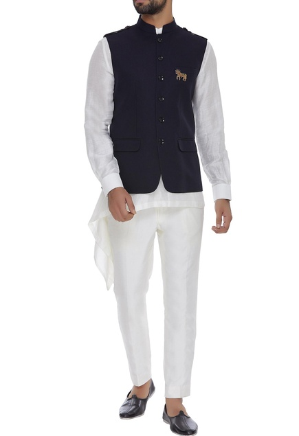 Nehru jacket with shoulder epaulette