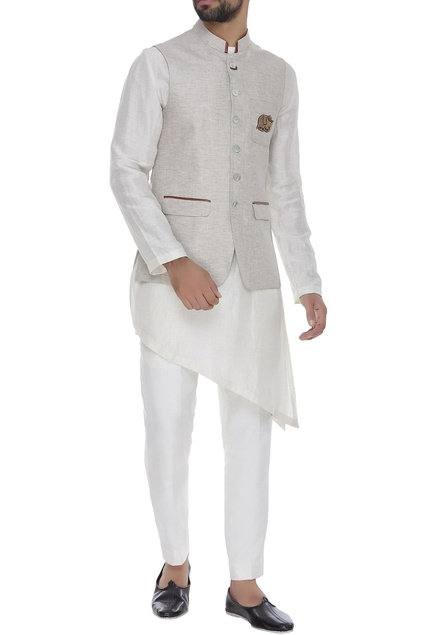 Linen nehru jacket with embroidered elephant motif