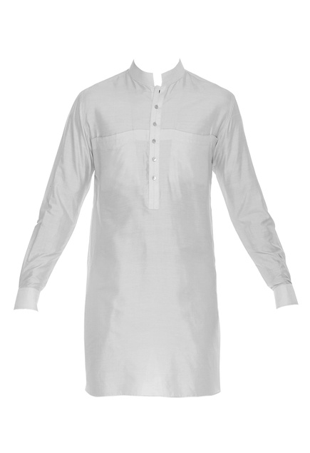 Spun silk kurta with turn up sleeves