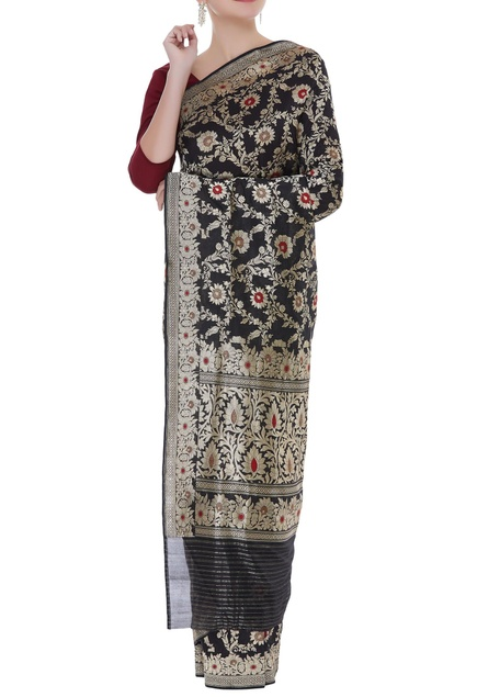 Jaal work handwoven sari with unstitched blouse