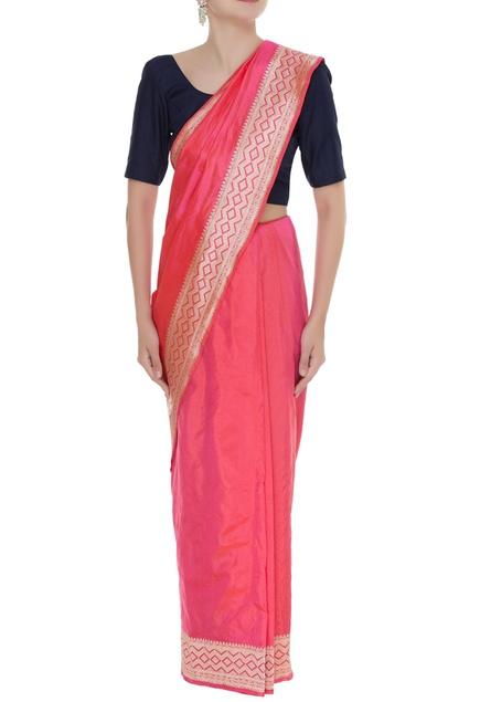 Zigzag embroidered handwoven sari