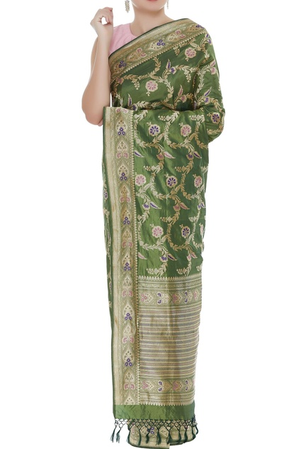 Handwoven zari embroidered sari with unstitched blouse
