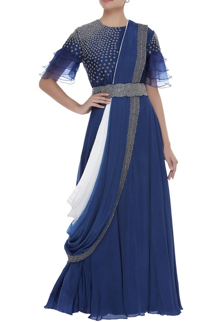 Embroidered top with skirt and drape