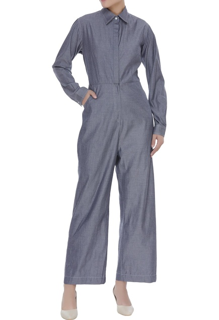 Rayon collared jumpsuit