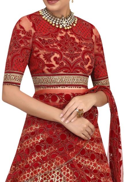 Velvet applique & gota embroidered lehenga set