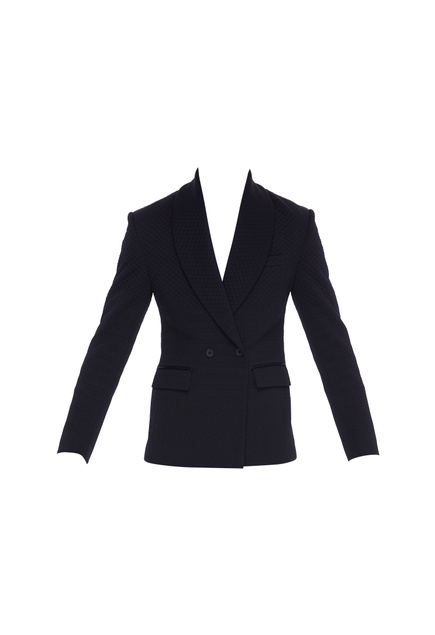 Micro quilted double breasted blazer
