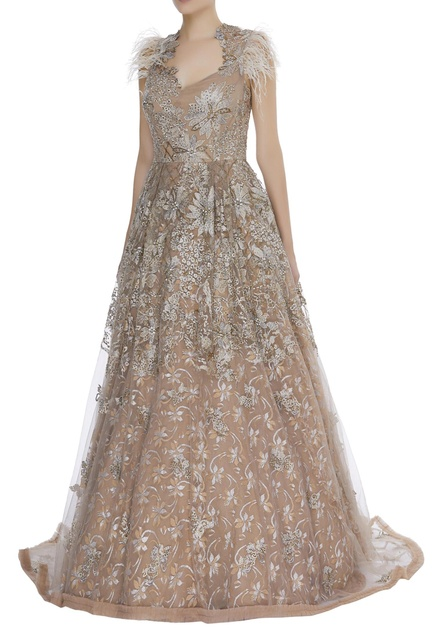 Crystals and pearl embroidered gown
