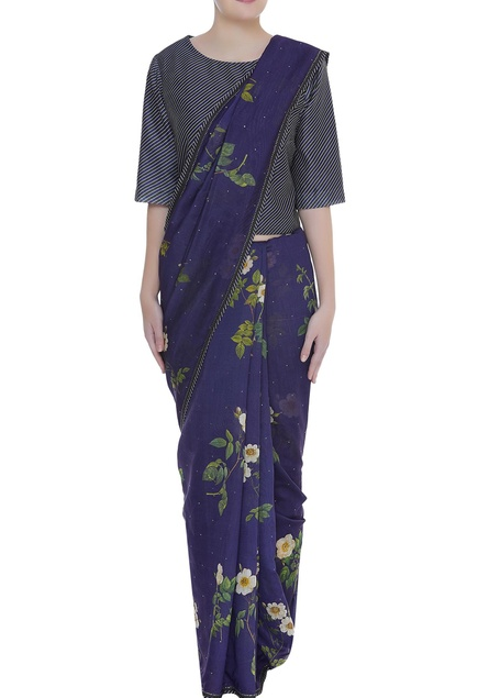 Floral printed sari with sleek border