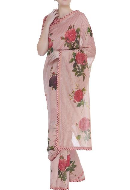 Floral printed sari with sleek border