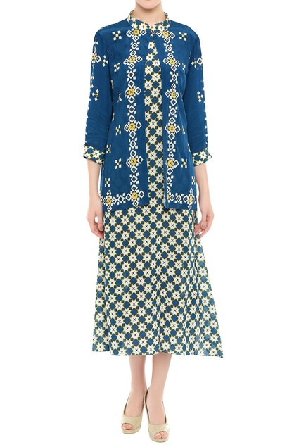 Printed dress with embroidered jacket