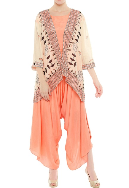 Draped jumpsuit with printed open jacket