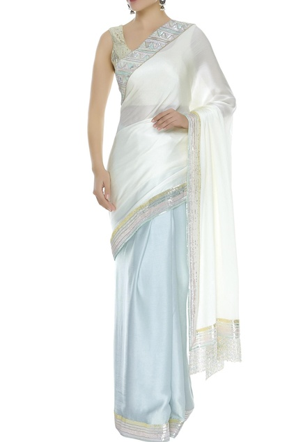 Sequin border sari with unstiched blouse