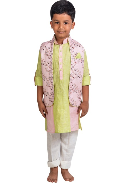 Floral printed jacket with kurta and pants