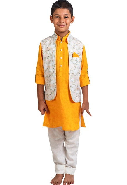 Kurta with printed open jacket and pants