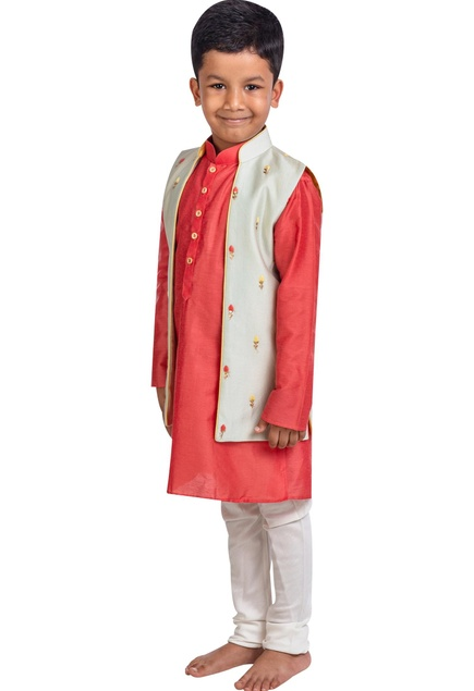 Embroidered long jacket with kurta and pants
