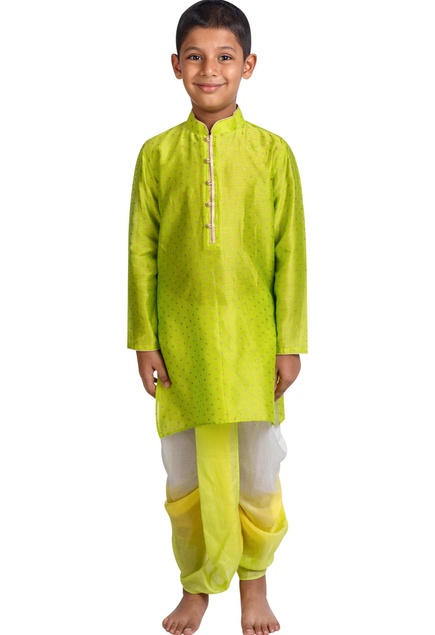 Printed kurta with shaded dhoti