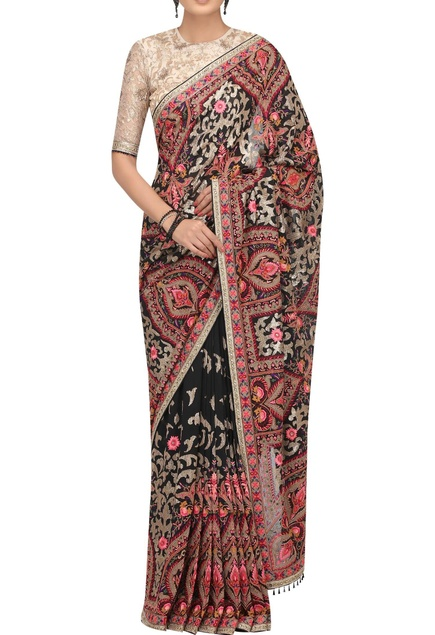 Hand embroidered sari with blouse and petticoat