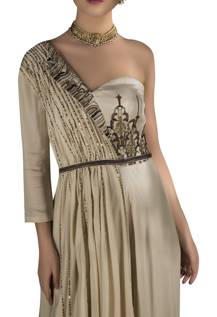 Embroidered one shoulder lapel gown