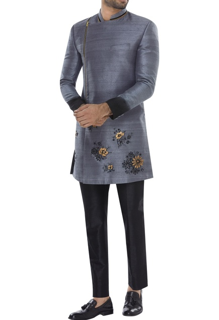 Hand embroidered sherwani with trousers
