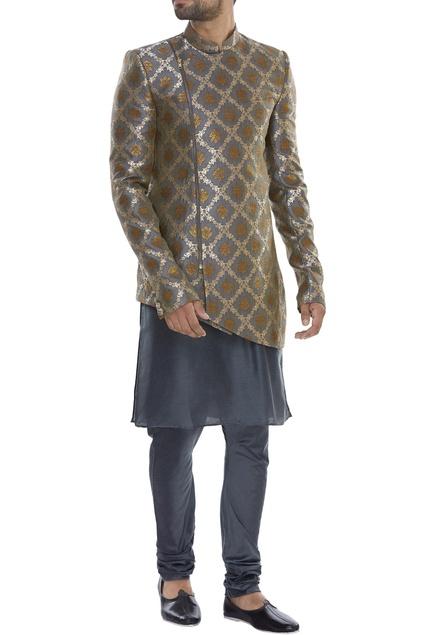 Mandarin collared sherwani with kurta & pyjama
