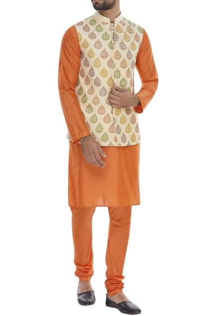 Block printed nehru jacket with kurta & pyjama
