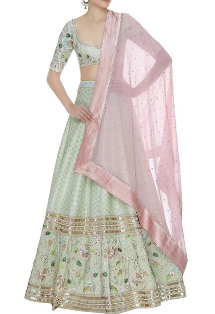 Floral embroidered lehenga set with sequin embellished dupatta