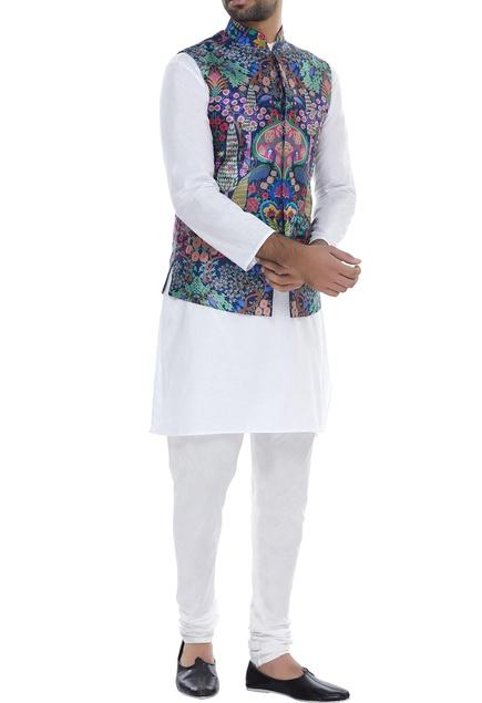Peacock Print Nehru Jacket