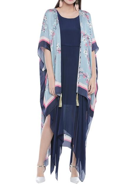 Asymmetrical dress with cape
