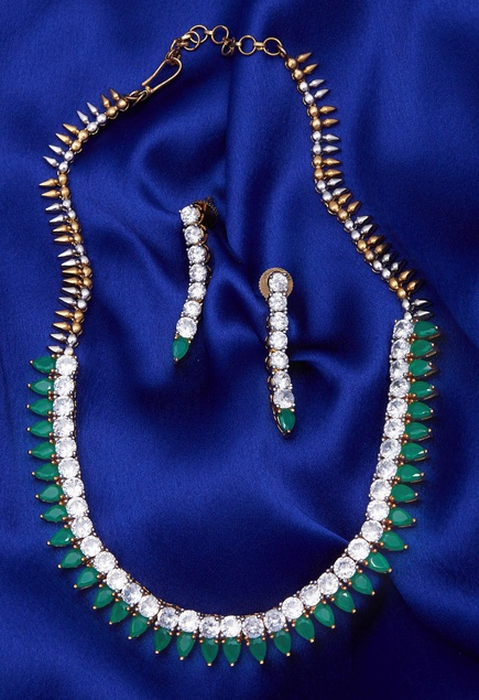 Stone & Bead Encrusted Necklace Set