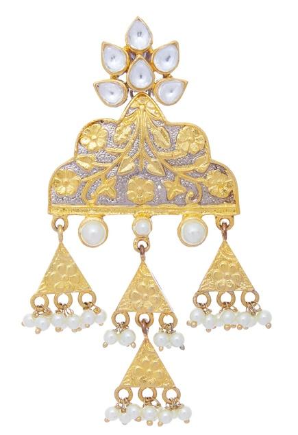 Kundan triangular earrings