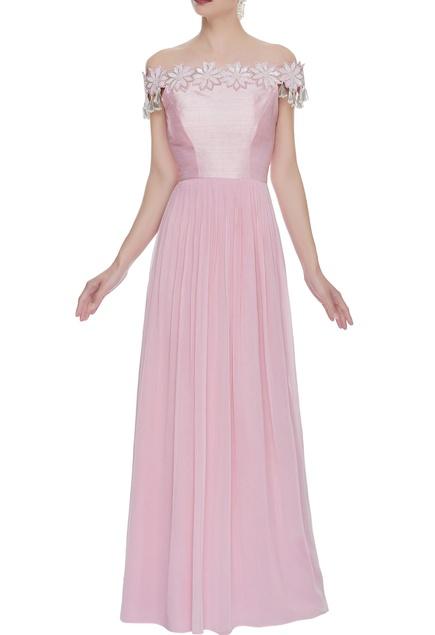 Off shoulder floral applique gown