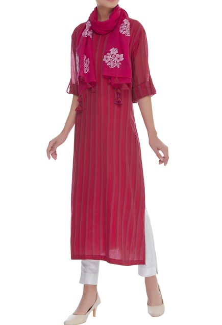 Striped kurta with button tab sleeves
