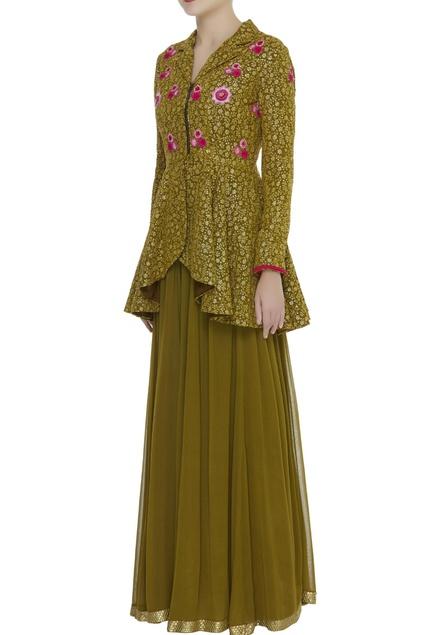 Resham embroidered peplum tunic