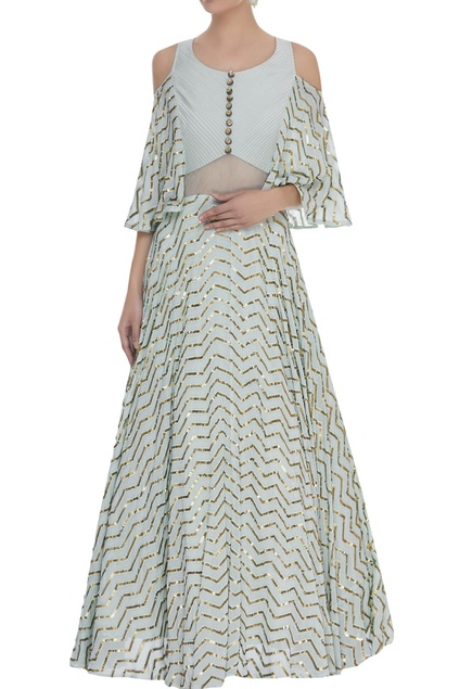 Sequin bell sleeves gown