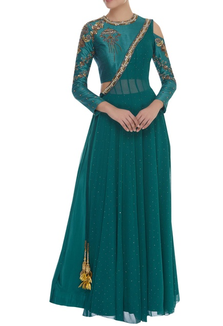 Angrakha Sequin & Bead Embroidered Kurta With Skirt