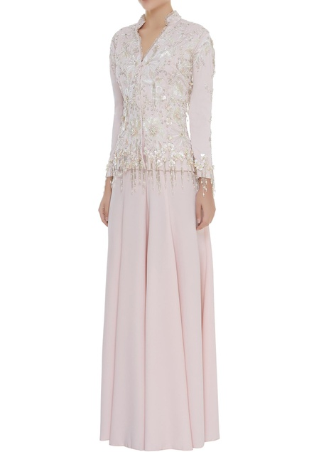 Pearl & Crystal Embroidered Jacket With Pants