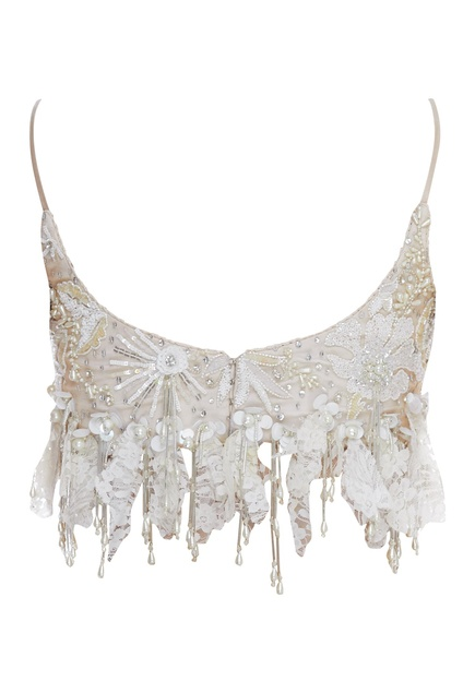 Crystal & Pearl Embroidered Crop Top