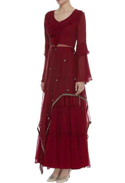 Sequin & Dori Embroidered kurta Sharara Set