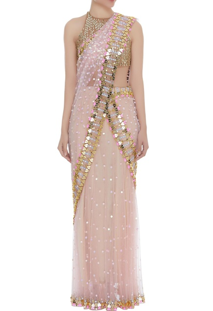 Sequin embellished sari with blouse