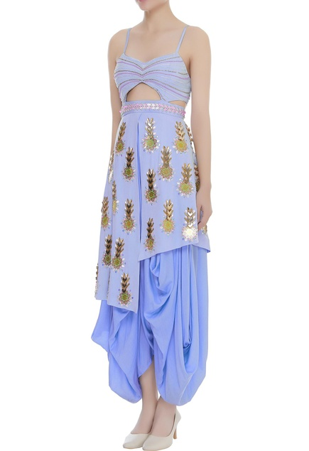 Bead embroidered draped jumpsuit