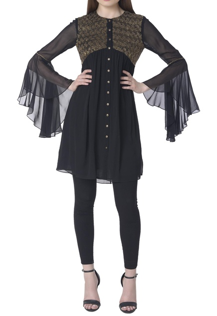 Hand embroidered flared sleeves tunic