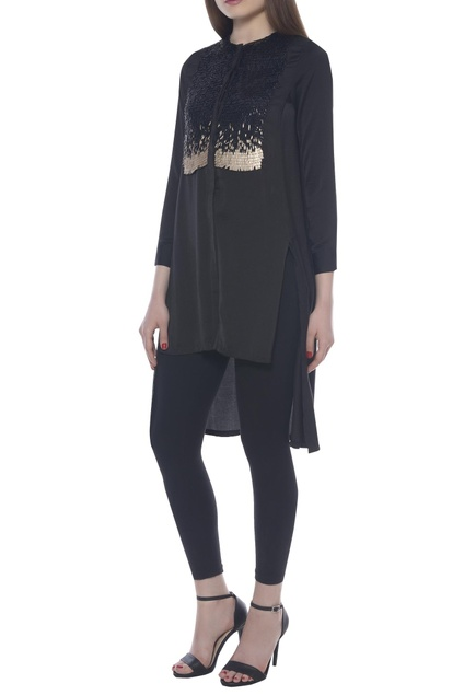 Sequin embroidered high low tunic