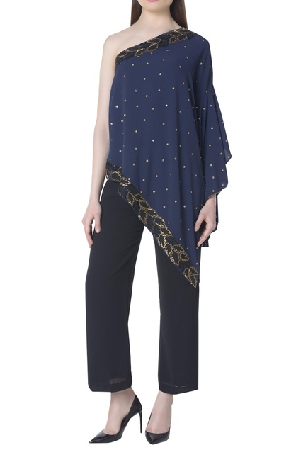 One shoulder embroidered top with flared sleeves