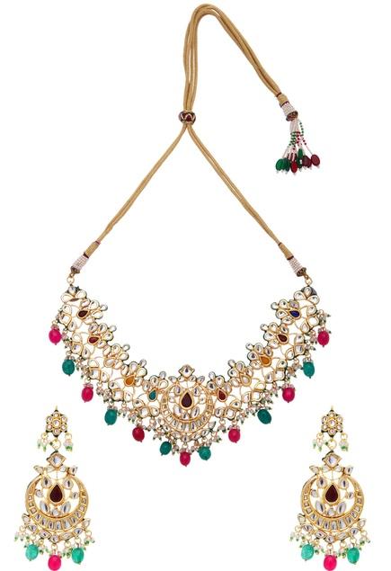 Kundan & faux pearls necklace & earring set