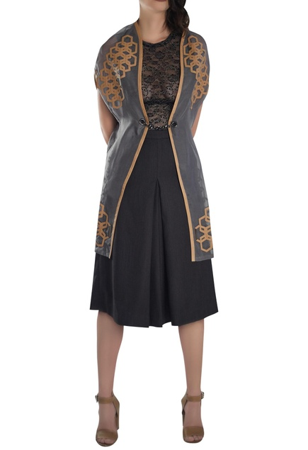Leather detail long cape