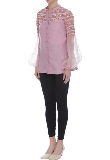 Embroidered balloon sleeve shirt